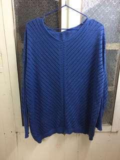 🚚 寶藍色洞洞針織上衣/版型寬鬆