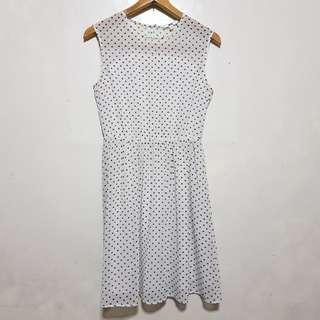 UNIQLO : White Polka dots Dress