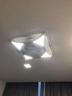 Plastic ceiling fan with LED loght