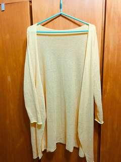 韓製淺黃色長版罩衫