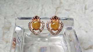 Myanmar Jade (Jadeite) Cabochon (Type A) on 925 Silver Ear Stud
