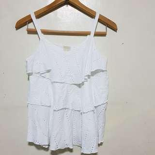 ZARA : White Flowy Top (Sleeveless)