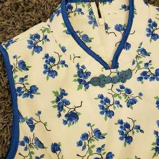 Cny Blue flower Cheongsam