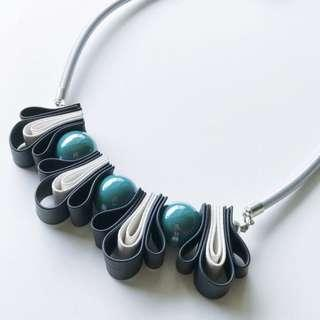 Navy Turquoise Ribbon Knot Statement Necklace