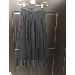 日系感 絨布簍空紗裙(有實穿照)