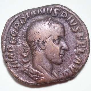 🚚 Large Roman Bronze coin, Gordian III Sestertius, 244 AD