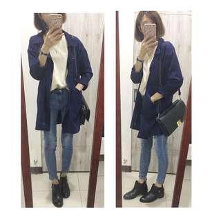 藍色 騎士拉鍊風衣外套(實穿照)