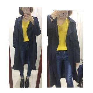 H&M 黃色短版針織上衣(實穿照)