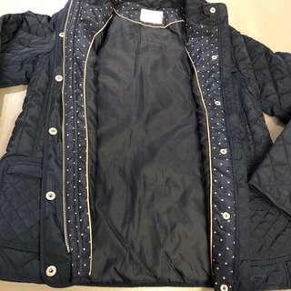 🚚 Zara Girls 鋪棉 外套 格紋 深藍色