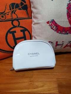 White Chanel Make Up Pouch In Small Size