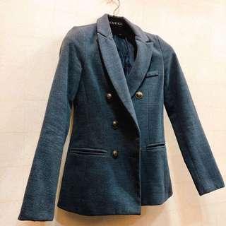 🚚 近全新韓版英倫深灰挺版OL氣質翻領毛料西裝外套罩衫