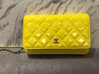 8成新Chanel香奈兒漆皮黃色WOC包•保證正品•
