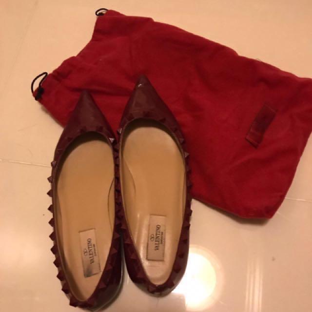 包順豐 Valentino studded flats burgundy 37 鍋釘平底鞋 酒紅色