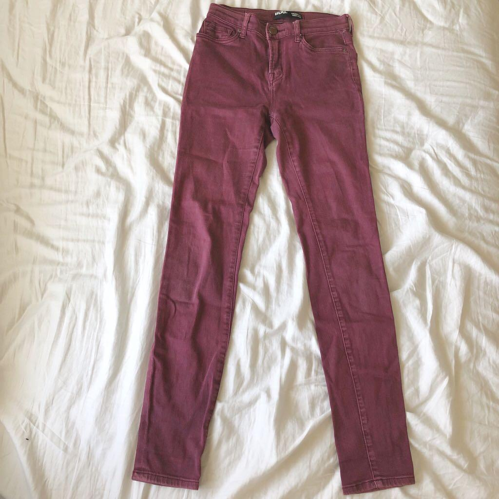 BDG Denim Cigarette High-Rise Skinny Jeans in Maroon-Purple