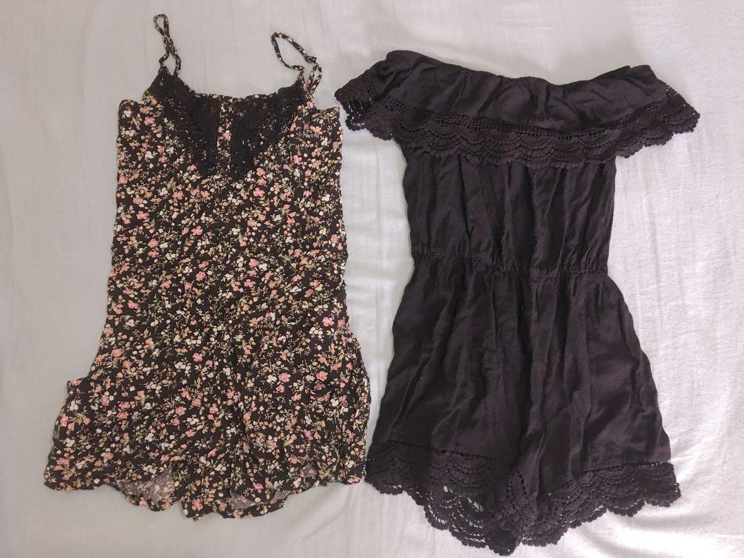 Black & floral playsuit