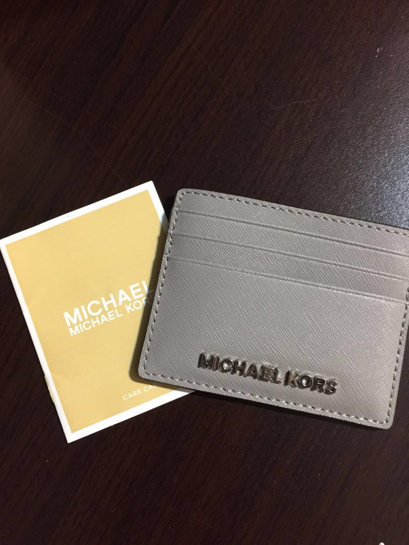 1b7305431301 BN Authentic Michael Kors Card Holder in Grey, Women's Fashion, Bags ...