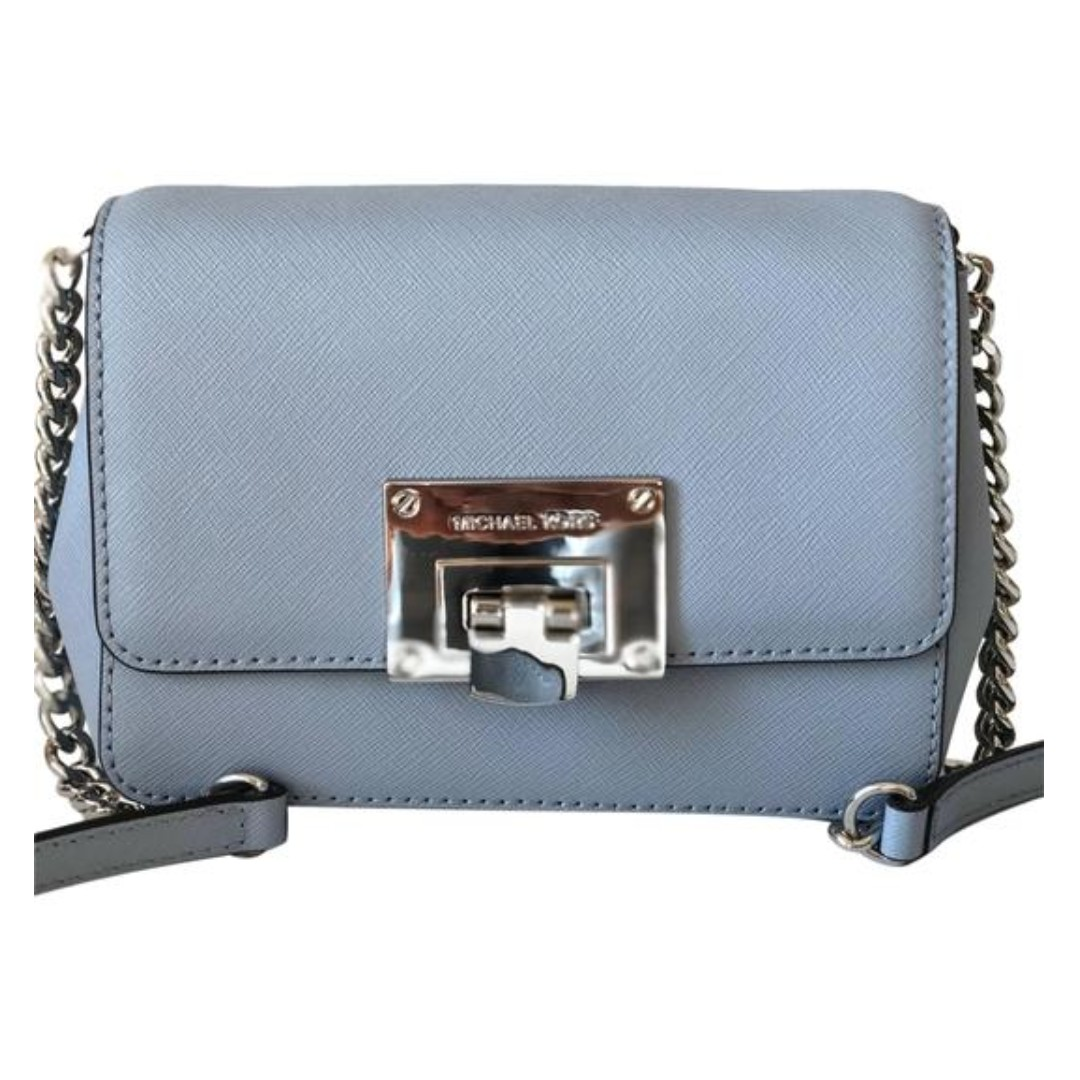 61b050b8cebe ... canada bn michael kors tina small saffiano leather clutch crossbody bag  pale blue mk crossbody womens