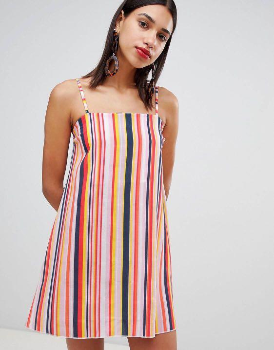77f76b3fdc Boohoo Square Neck Strappy Striped Cami Dress, Women's Fashion ...