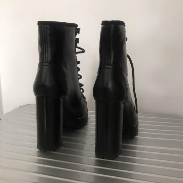Brand New Zara Studio Lace Up Leather High Heel Ankle Boots