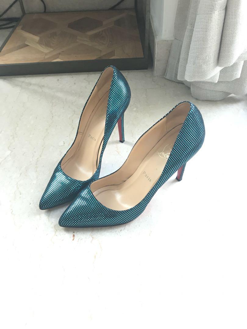 e2da87c4794a Christian Louboutin black and turquoise heels