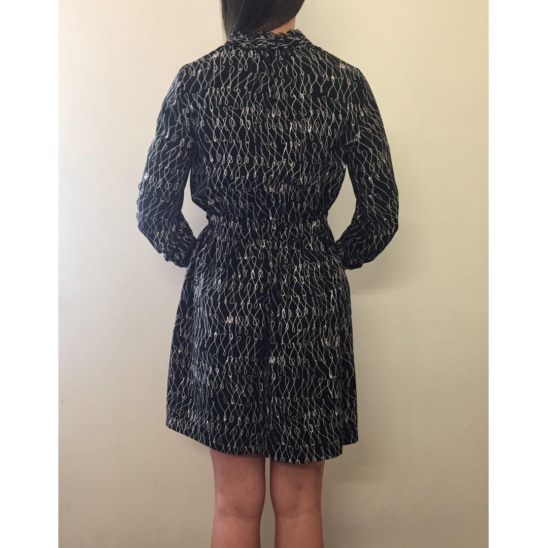COUNTRY ROAD Black Beige Abstract Print High Neck Blouson Dress Sz AU 6