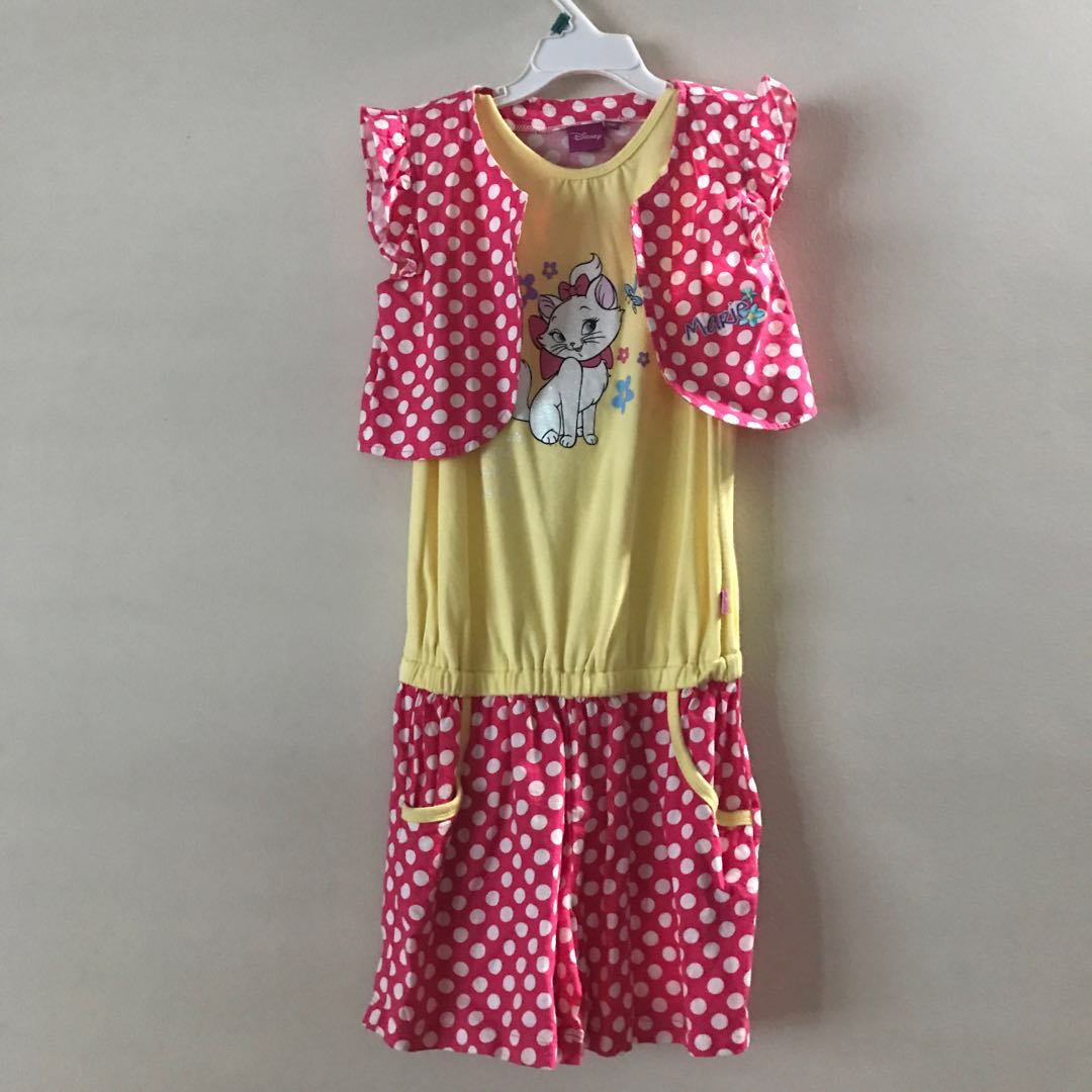 53f04db735b30 Disney Marie Cat Romper pink white yellow Polka dot two piece jacket ...