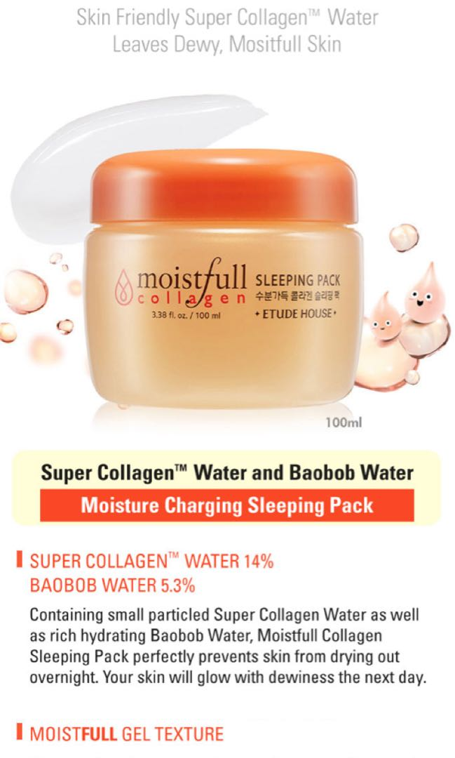 Etude House Moistfull Collagen Sleeping Pack, Health & Beauty, Face & Skin Care on Carousell