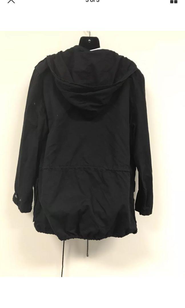 FREE POSTAGE black anorak parka lightweight winter jacket size medium