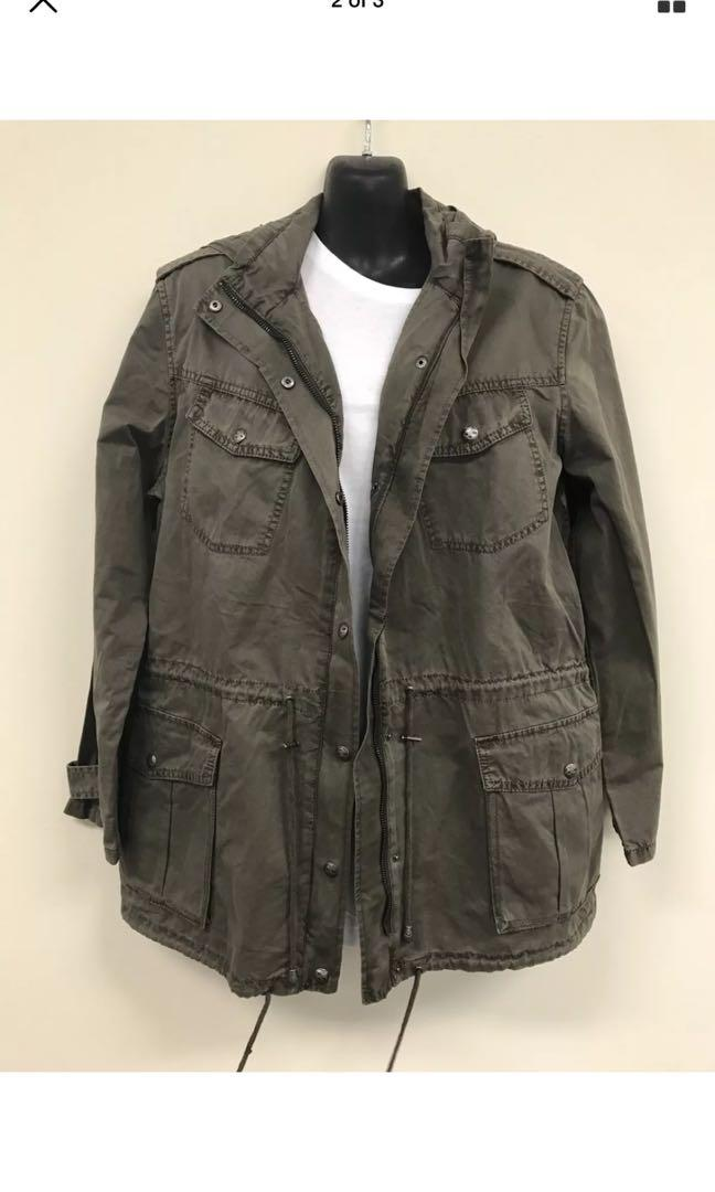 FREE POSTAGE buffalo David bitton green khaki parka anorak jacket size medium NEVER WORN