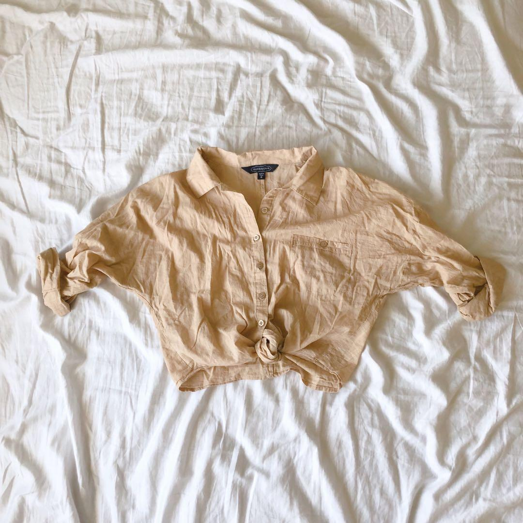 Glassons Camel Button-Up Crop Top with Front Knot Detail
