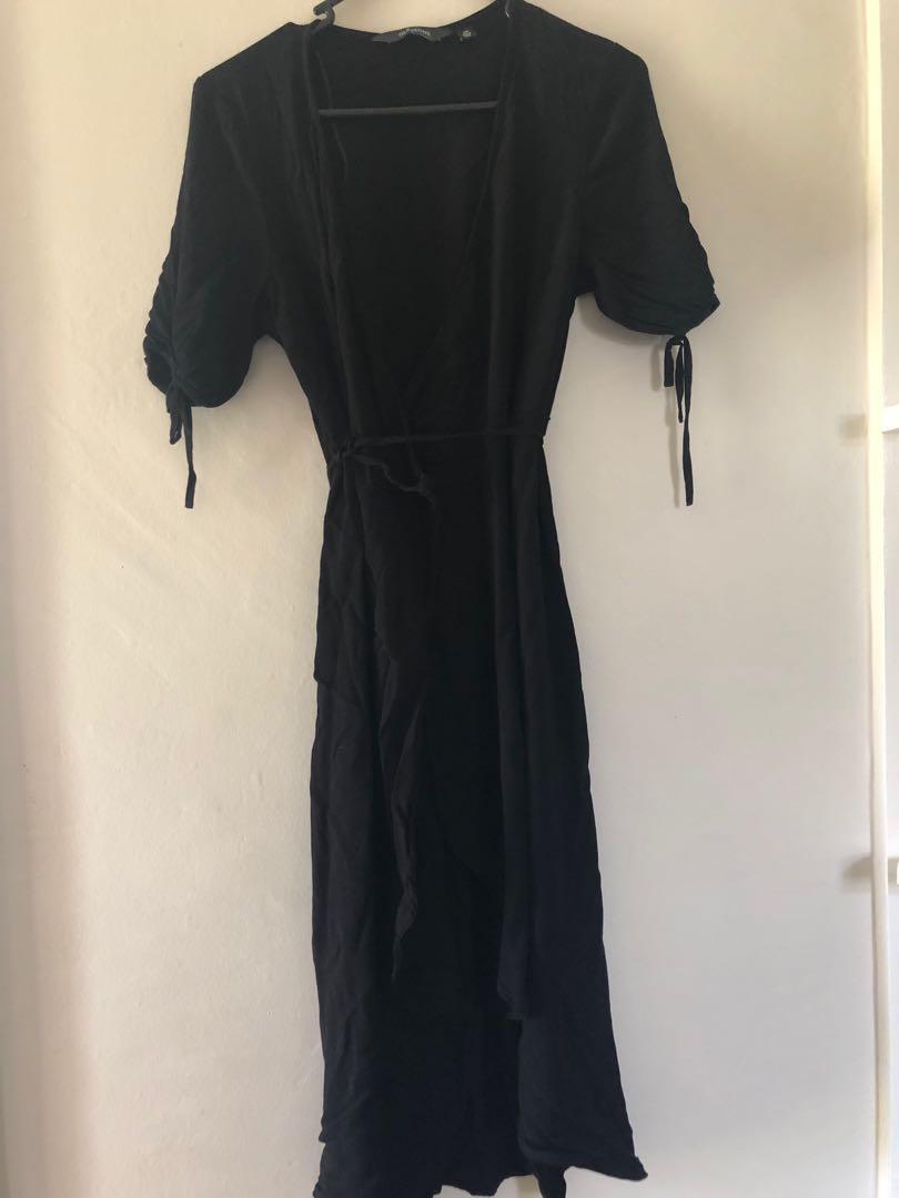 Glassons wrap front dress- black