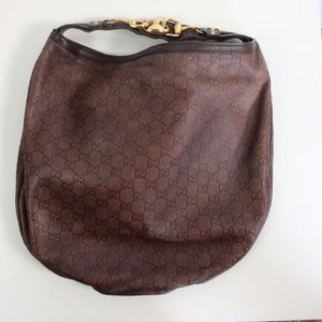 7c5d4b0a040492 Gucci Logo Large Leather Hobo Bag, Women's Fashion, Bags & Wallets ...