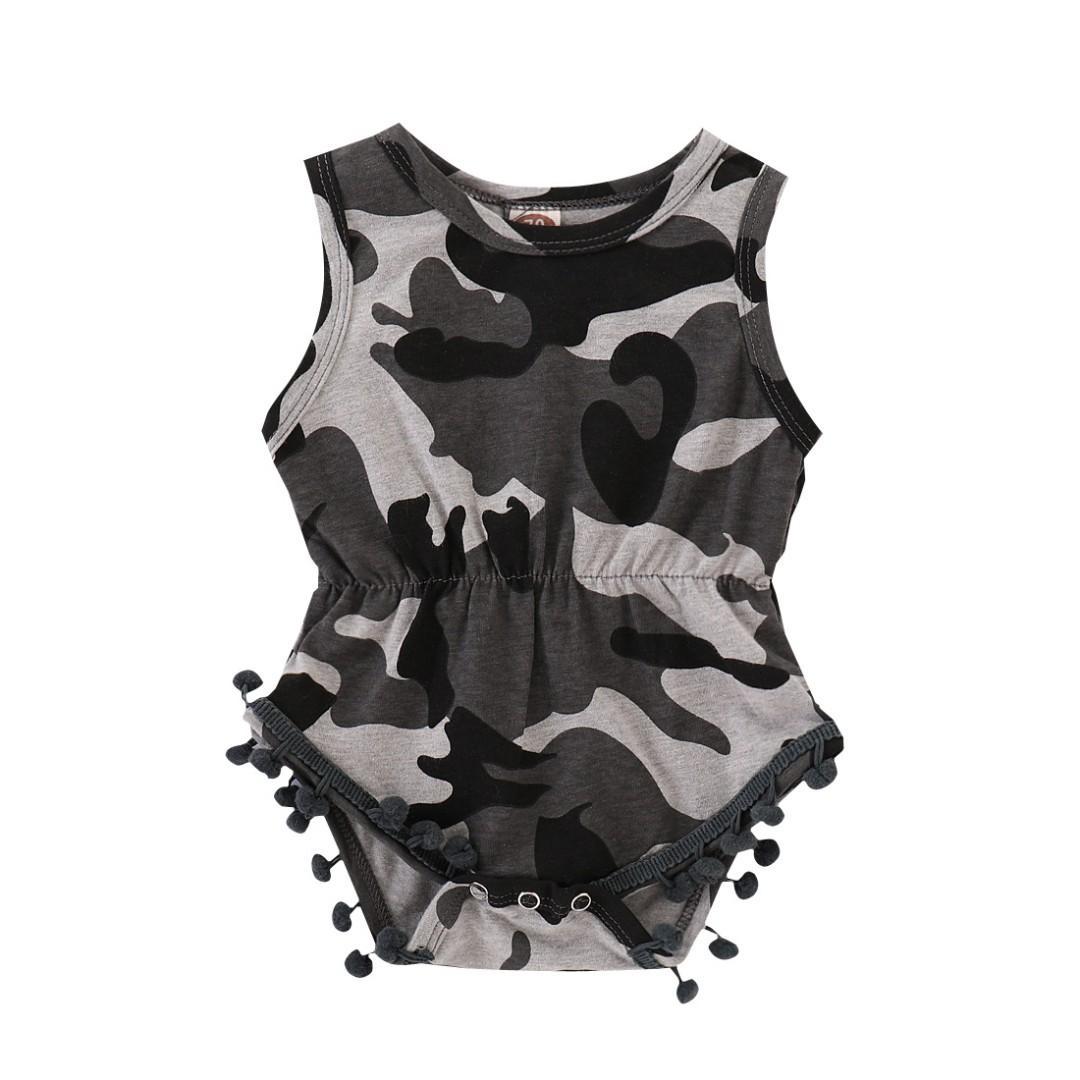 🌟INSTOCK🌟 Grey Camouflage Army Sleeveless Onesie Pom Pom Romper for Newborn Baby Toddler Girls Kids Children Clothes