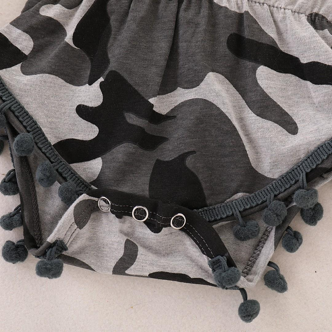 🌟INSTOCK🌟 Army Brown Green Camouflage Print Overall Onesie Pom2 Romper for Newborn Baby Toddler Girls Kids Children Clothes