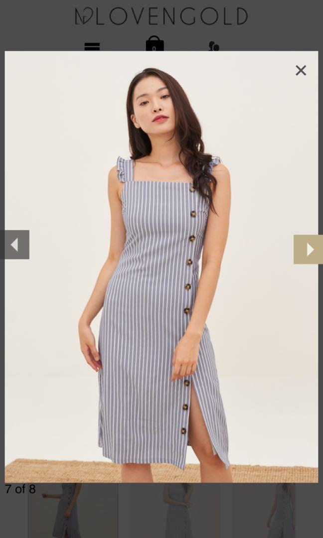aeb8911add15 Janelle Ruffles Button Dress in Ash Blue, By Lovengold, Women's ...