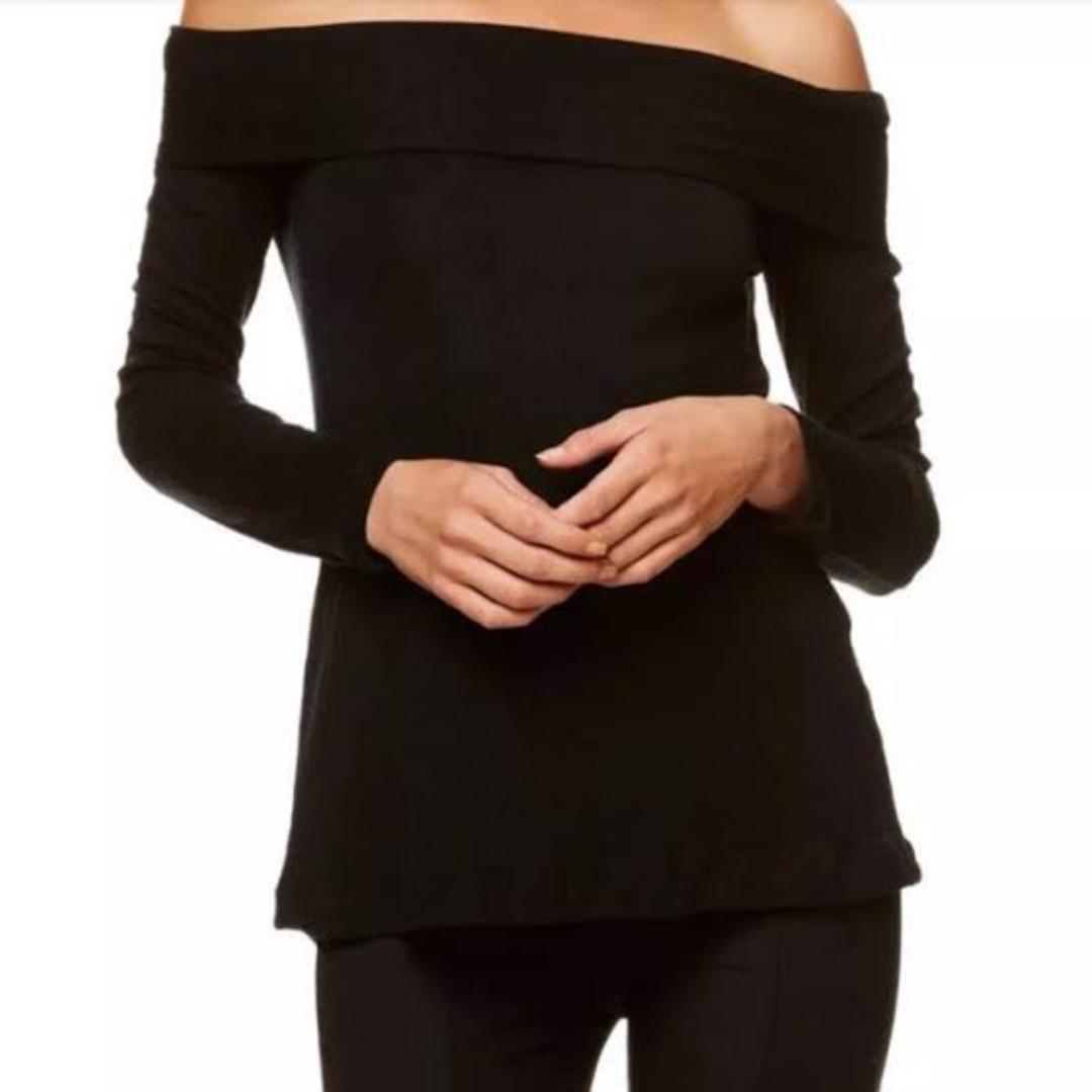 Kookai Merino Wool Bonnie long sleeve off the shoulder top