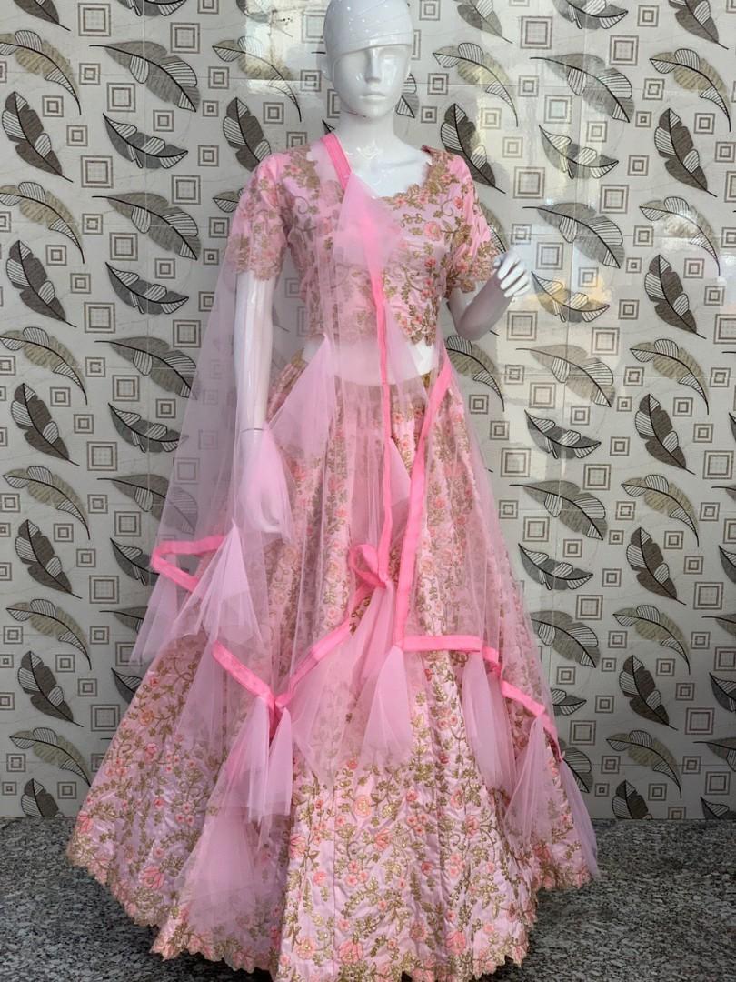 Banglori Satin Silk Digital Print Full Flair Fully Stitched Readymade Free Size Skirt Lehenga For Women Bridesmaid Wedding Party Wear Skirt