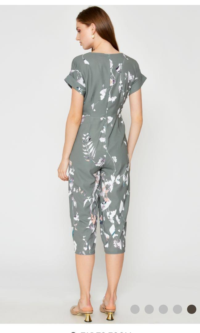 Love and Bravery BNWT Kora Floral Wrap Jumpsuit Green in Size L