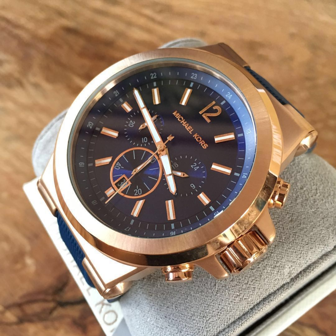 a8d05d8f9d6d Michael Kors Dylan Rose Gold Dark Blue Silicone Chronograph Men s ...