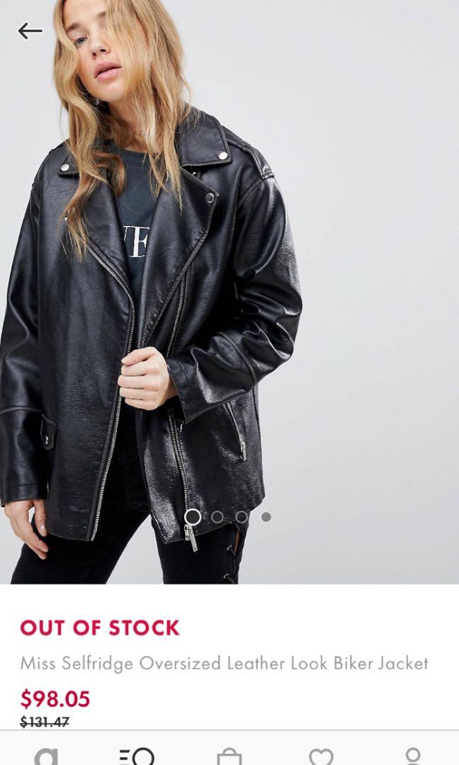 38dc1d1b7 miss selfridge oversize leather jacket