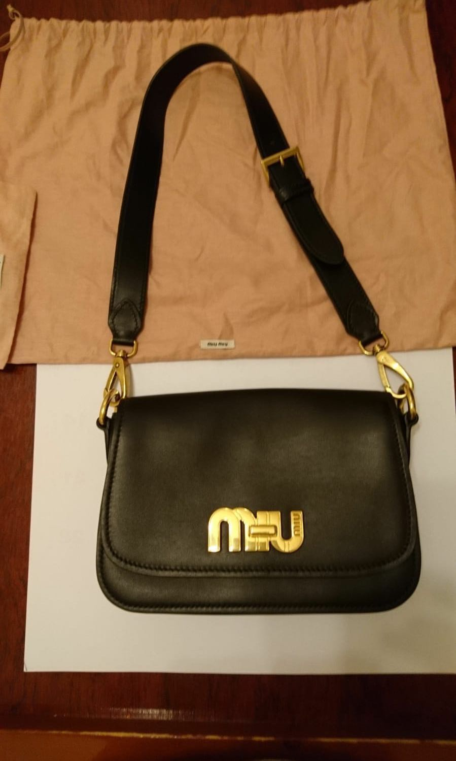 a73d2d543177 Miu miu city calf logo shoulder bag