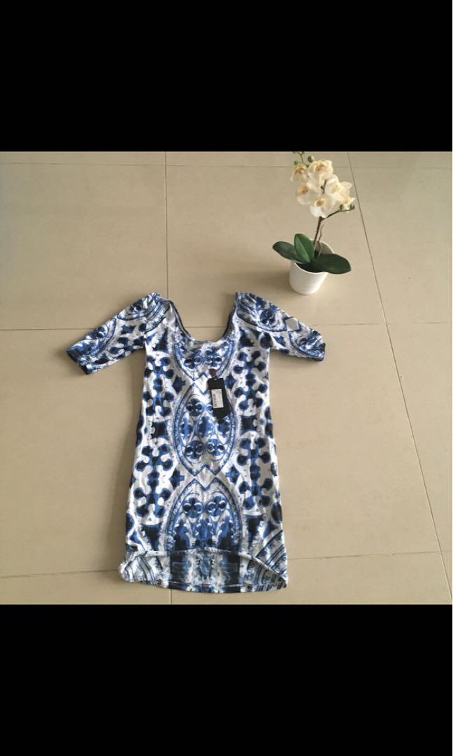 Motel Rocks scoop neck and back, blue and white print dress