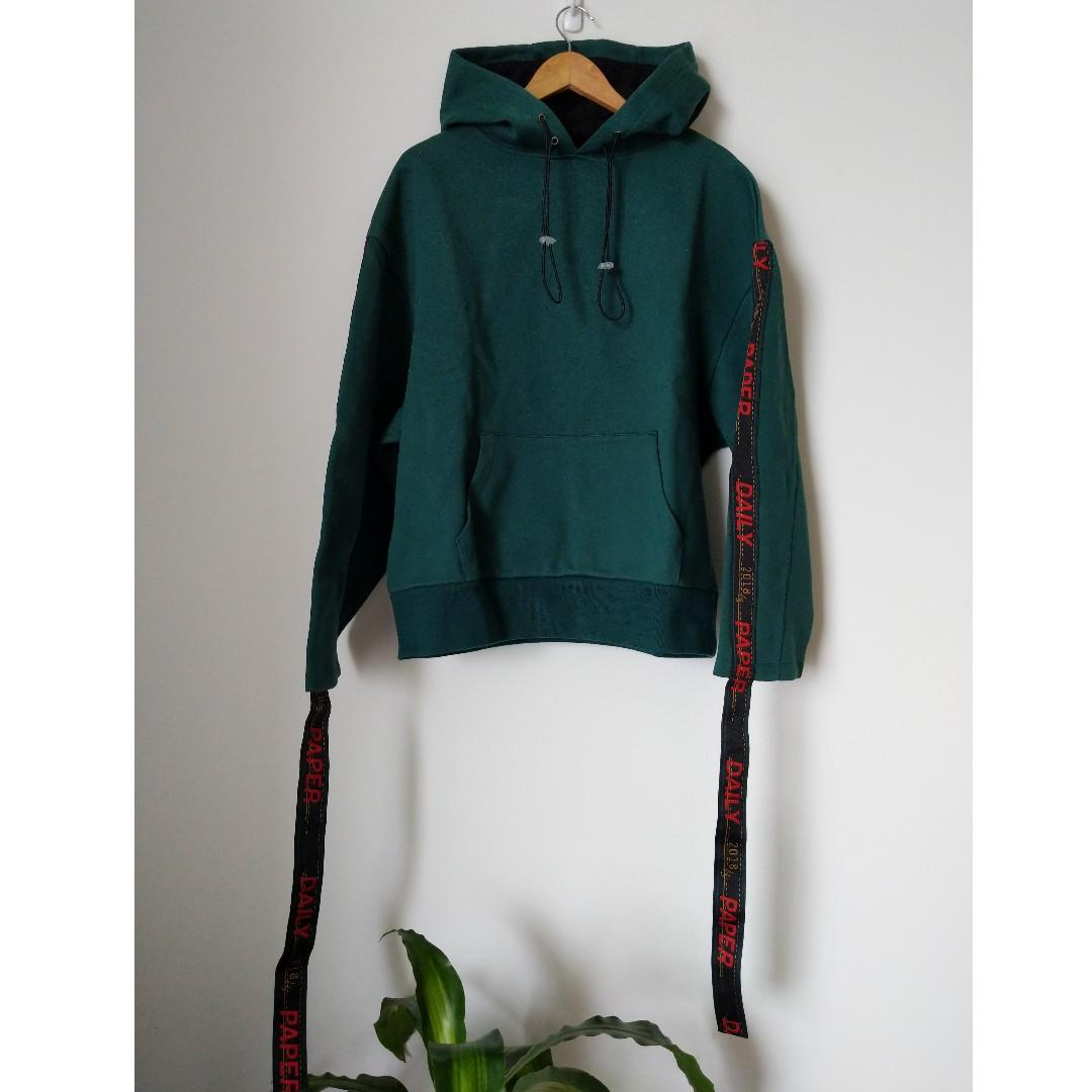 NEW Daily Paper Oversized Emerald Hoodie With Tape Detail
