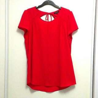 RW&Co Red Short Sleeve Blouse with Back Cutout (Medium)