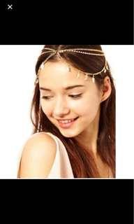 Instock Headchain head chain headwear hair hijab leaf layers accessory beautiful pretty elegant cute