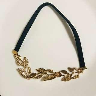 Instock Headchain head chain leaf headwear hair hijab accessory beautiful pretty elegant cute