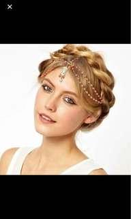 Instock Headchain head chain headwear hair orange beads hijab accessory beautiful pretty elegant cute