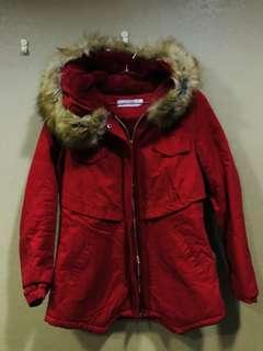 🚚 全新澎毛領 內絨毛鋪棉大紅大衣外套