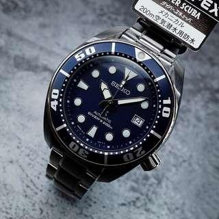 Authentic Brand New Seiko Sumo Prospex Automatic Dive Watch With Blue Dial and Stainless Steel Bracelet SBDC033 SBDC