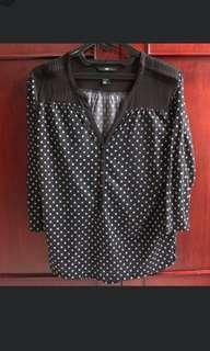 #onlinesale H&M Black Polkadot Top Blouse